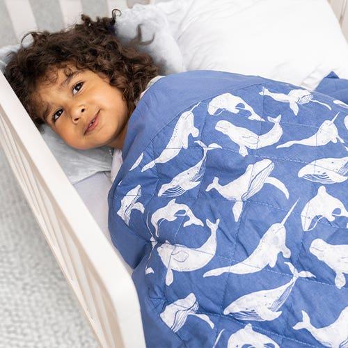 Couverture lestée pour enfant whale watching
